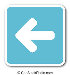 left arrow blue square internet flat design icon