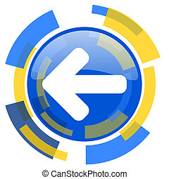 left arrow blue yellow glossy web icon