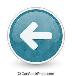 Left arrow brillant crystal design round blue web icon.