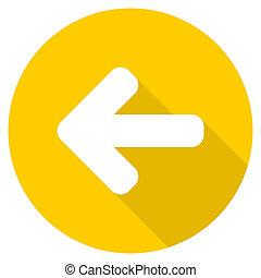 left arrow flat design yellow web icon