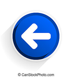 left arrow flat icon with shadow on white background, blue modern design web element