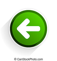 left arrow flat icon with shadow on white background, green modern design web element