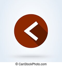 Left arrow flat style. icon isolated on white background. Vector illustration