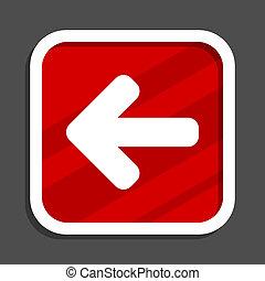 Left arrow icon. Flat design square internet banner.