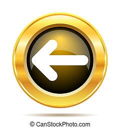 Left arrow icon. Internet button on white background.