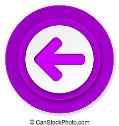 left arrow icon, violet button, arrow sign