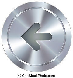 Left arrow on industrial button - Left arrow direction icon...