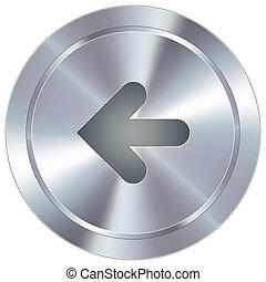 Left arrow on industrial button - Left arrow direction icon...
