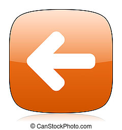 left arrow orange square web design glossy icon