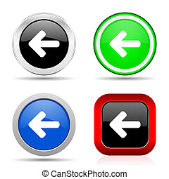 Left arrow red, blue, green and black web glossy icon set in 4 options