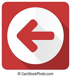 left arrow red flat icon arrow sign