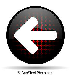 left arrow red glossy web icon