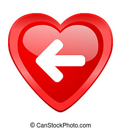 left arrow red heart valentine glossy web icon