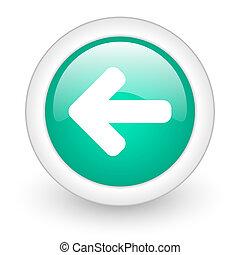 left arrow round glossy web icon on white background