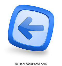left arrow square glossy blue web design icon