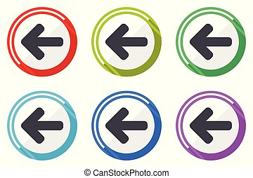 Left arrow vector icons, set of colorful flat design internet symbols on white background