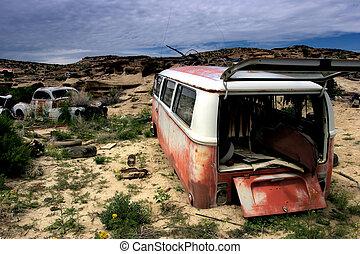 abandoned mini-bus in rural wyoming