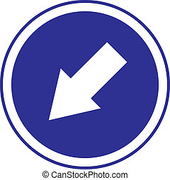 left bottom arrow in circle blue sign