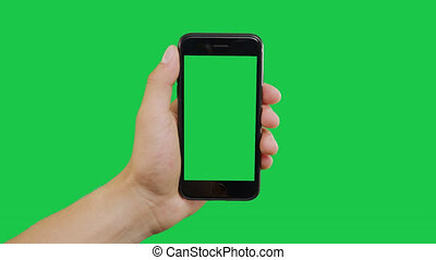 Left Click Smartphone Green Screen. Pointing Finger Clicking On Phone Screen with Green Background. Use in any project that depicts finger, gesture, touchscreen and the like.