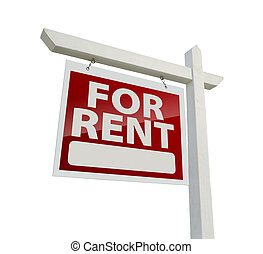 Left Facing For Rent Real Estate Sign on White