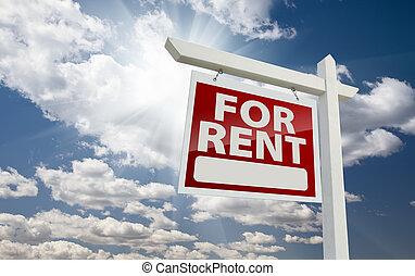 Left Facing For Rent Real Estate Sign Over Sunny Sky - Left...