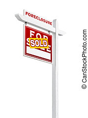 Left Facing Foreclosure Sold For Sale Real Estate Sign...