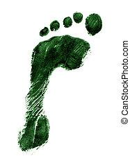 Left foot print green - Green ink print of a left foot