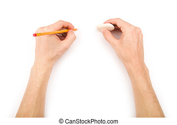 Left-hander with pencil and eraser - Left-handed person with...