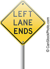 Left land ends traffic sign - Left land ends on white...