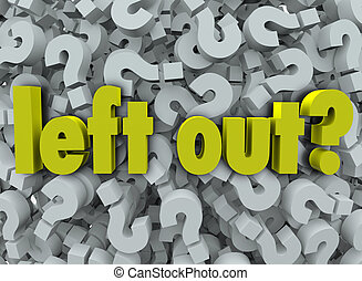 Left Out words on question marks to illustrate the sadness and depression of being isolated or kept away from the group