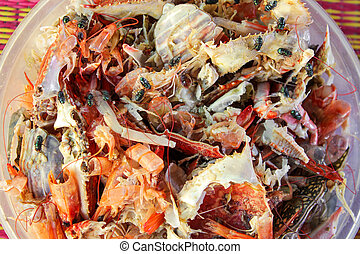 left over food trash, crab shell and shrimp shell