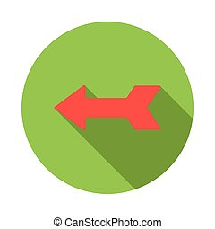 Left red arrow icon, flat style