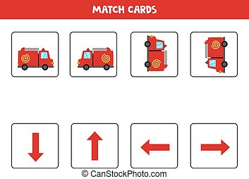 Left, right, up or down. Spatial orientation with cartoon fire truck.