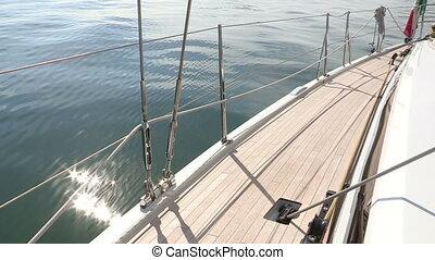 Left side of sailing boat
