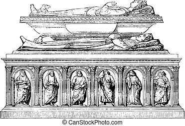 Left side of the tomb, carrying the effigies of Valentine of Milan and his son Philippe d'Orleans, vintage engraving.