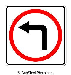 left turn road sign on white background