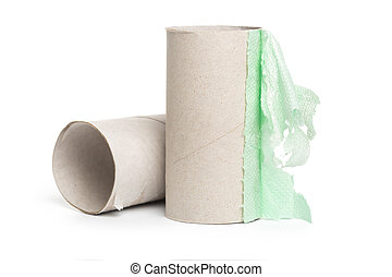 Leftover tissue paper roll on isolate background.