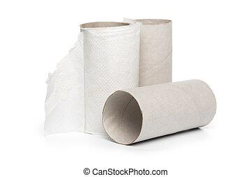 Leftover tissue paper roll on white background.
