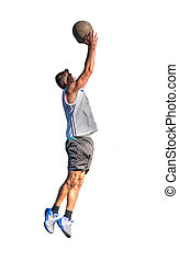 Lefty basketball player jump on white - Lefty basketball...