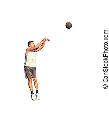Lefty basketball player jump shot on white