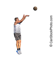 Lefty basketball player jump shot seen from right side on white