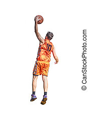 Lefty basketball player on white
