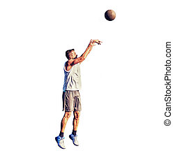 Lefty basketball player practicing free throws on white -...