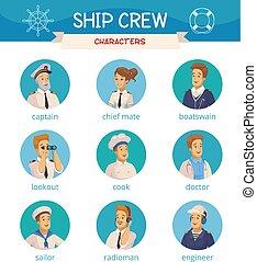 legénység, hajó, állhatatos, betűk, ikonok