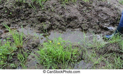 Woman legs with gumboots rubber boots walk on wet dirt soil mud swamp marsh and leaves foot prints marks.