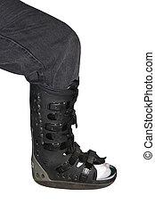 Leg Brace - a leg brace on a leg
