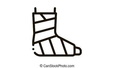 Leg Foot Gipsum Bandage Orthopedic animated black icon on white background
