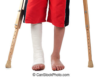 Leg fracture - A boy with a right leg fracture struggles to...