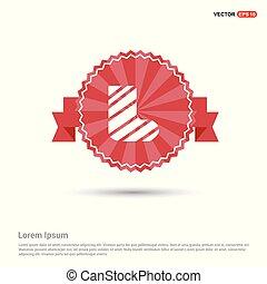 leg in bandage icon - Red Ribbon banner
