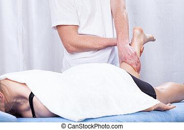 Leg massage in a hospital